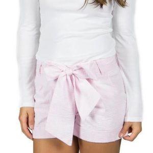 Lauren James Pink Seersucker Bow Shorts